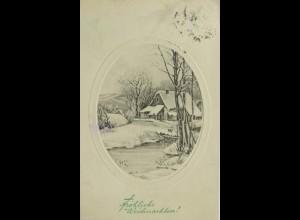 Weihnachten, Haus, Winterlandschaft, 1910 ♥ (12886)