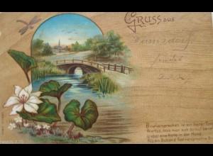 """""""Landschaft, Brücke, Libelle, Gruß aus"""" 1900 ♥"""