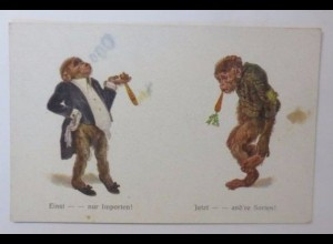 """""""Personifiziert, Affe, Rauchen, Möhre"""" 1900 ♥"""