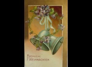 Weihnachten, Glocken, Blume, 1909, Prägekarte ♥ (11018)