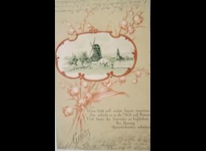 """""""Landschaft, Windmühle, Maiglöckchen"""" 1899 ♥"""