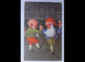 Neujahr, Zwerge, Tanzen, Bowle, 1928, sig. T.M. ♥ (65861)