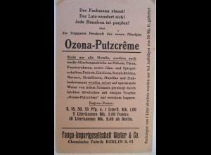 Reklame Werbung, Ozona Putzcreme Chemie-Fabrik Walter in Berlin 1914