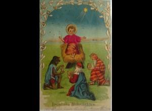 Weihnachten, Heilige, Krippe, Heilige Drei Könige,1909, Prägekarte ♥ (11015)
