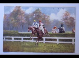 Pferde, Pferderennen, Jockey, 1906, Oilette ♥