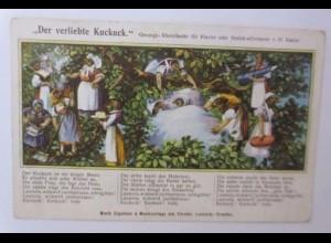 """Personifiziert, Kuckuck, Der verliebte Kuckuck, Lied"" 1910 ♥"