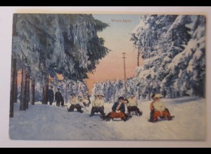 Wintersport, Schlitten, Winter-Idylle, Rodeln, 1908 ♥
